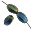 Glass Bead 9X6mm Oval Strung Opaque green Iris